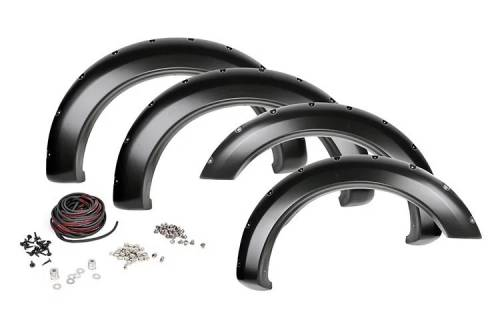 Exterior - Fender Flares - Rough Country Suspension - F-D10911 | Dodge Pocket Fender Flares with Rivets | Metal Front Bumper