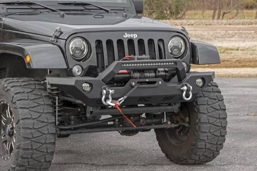 Rough Country Suspension - 10596 | Jeep Full Width Front LED Winch Bumper