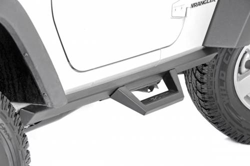 Exterior - Side Steps & Running Boards - Rough Country Suspension - 90763 | Jeep Contoured Drop Steps