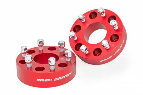 Wheels - Wheel Spacers - Rough Country Suspension - 1101RED | GM 2 Inch Wheel Spacers | 6 x 5.5 Bolt Pattern