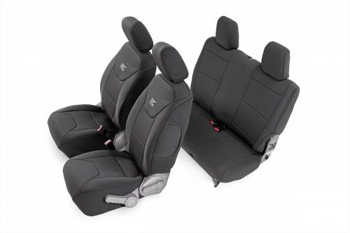 Interior - Seat Covers - Rough Country Suspension - 91005 | Jeep Neoprene Seat Cover Set | Black