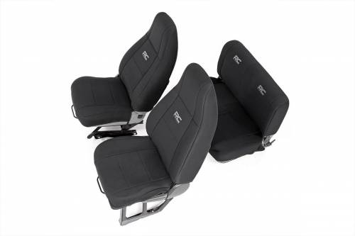Interior - Seat Covers - Rough Country Suspension - 91009 | Jeep Neoprene Seat Cover Set | Black
