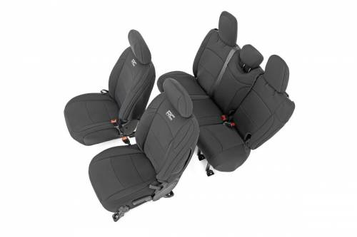 Interior - Seat Covers - Rough Country Suspension - 91010 | Jeep Neoprene Seat Cover Set | Black