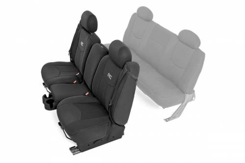 Interior - Seat Covers - Rough Country Suspension - 91013 | Chevrolet Neoprene Front Seat Cover Set | Black