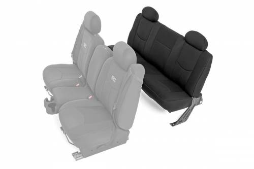 Interior - Seat Covers - Rough Country Suspension - 91014 | Chevrolet Neoprene Rear Seat Cover Set | Black