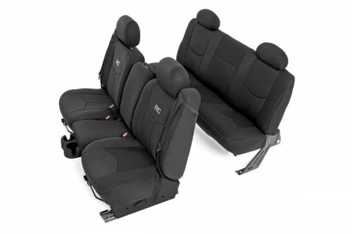 Interior - Seat Covers - Rough Country Suspension - 91019 | Chevrolet Neoprene Front & Rear Seat Cover Set | Black