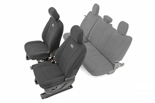 Interior - Seat Covers - Rough Country Suspension - 91016 | Ford Neoprene Front Seat Cover Set | Black