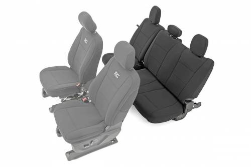 Interior - Seat Covers - Rough Country Suspension - 91017 | Ford Neoprene Rear Seat Cover Set | Black