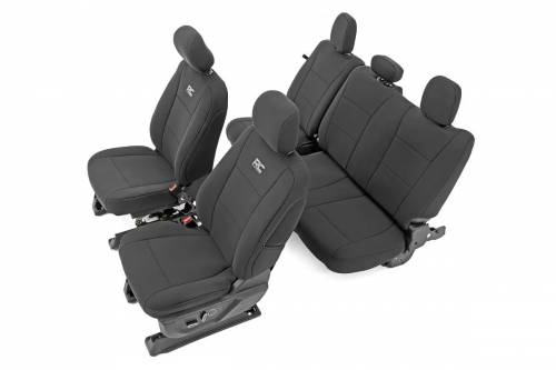 Interior - Seat Covers - Rough Country Suspension - 91018 | Ford Neoprene Front & Rear Seat Cover Set | Black