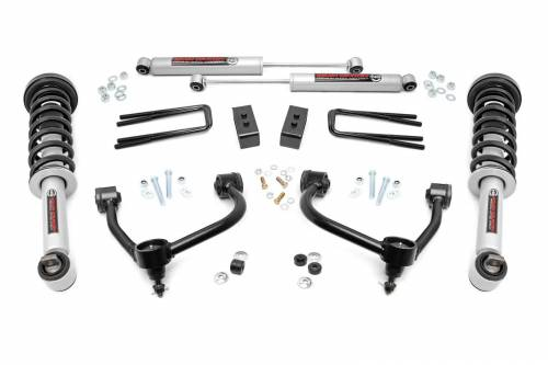 Rough Country Suspension - 54531   3 Inch Ford Bolt On Arm Lift Kit w/ Lifted Struts. Premium N3 Shocks - Image 1