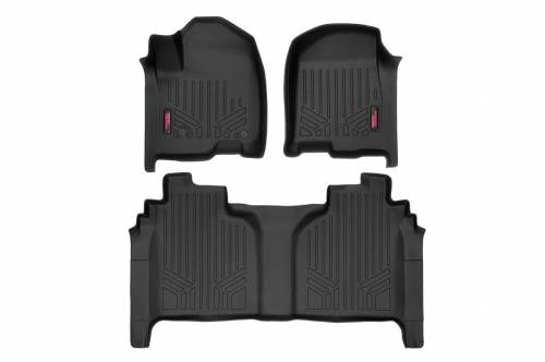Interior - Floor Mats & Cargo Liners - Rough Country Suspension - M-21613 | Heavy Duty Front & Rear Floor Mats | Crew Cab, Bench Seats