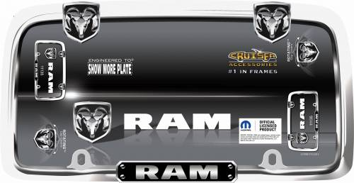 Exterior - License Plate Frames - Cruiser Accessories - 11135 | Ram, Chrome / Black License Plate Frame