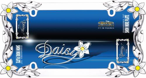 Exterior - License Plate Frames - Cruiser Accessories - 19130 | Daisy, Chrome / Painted License Plate Frame