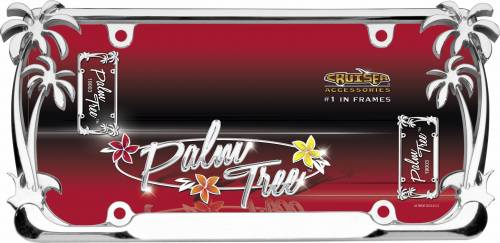 Exterior - License Plate Frames - Cruiser Accessories - 19003 | Palm Tree, Chrome License Plate Frame