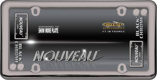 Exterior - License Plate Frames - Cruiser Accessories - 20680 | Nouveau, Black Chrome with Fasteners License Plate Frame