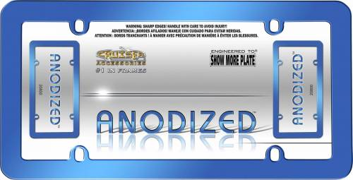 Exterior - License Plate Frames - Cruiser Accessories - 20800 | Anodized Blue License Plate Frame