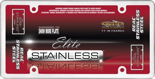 Cruiser Accessories - 21010 | Elite Stainless, Stainless Steel License Plate Frame