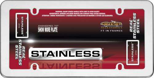 Cruiser Accessories - 21110 | Stainless, Stainless Steel License Plate Frame