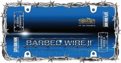 Exterior - License Plate Frames - Cruiser Accessories - 22230 | Barbed Wire II, Chrome License Plate Frame