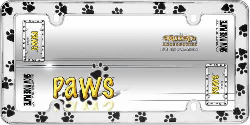 Exterior - License Plate Frames - Cruiser Accessories - 23033 | Paws, Chrome License Plate Frame