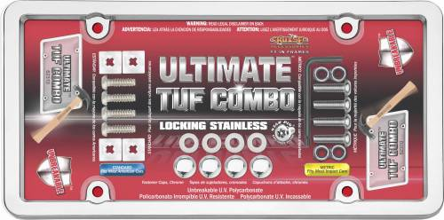 Exterior - License Plate Frames - Cruiser Accessories - 62310 | Ultimate Tuf Combo, Chrome / Clear License Plate Frame