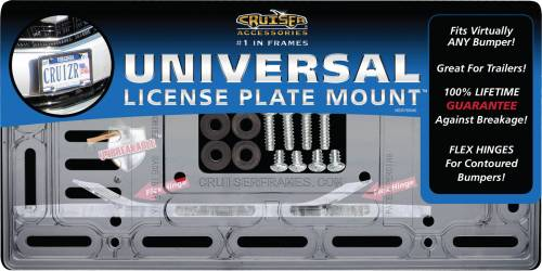 Exterior - License Plate Frames - Cruiser Accessories - 79000 | Universal License Plate Mount, Clear