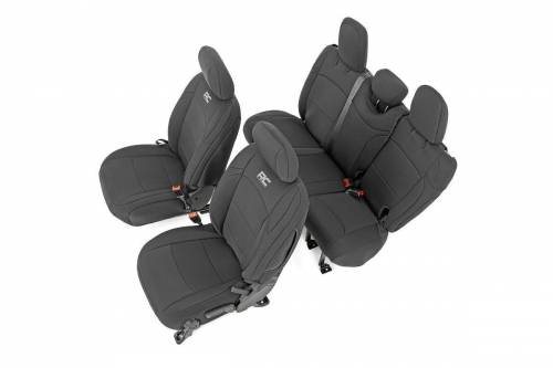 Interior - Seat Covers - Rough Country Suspension - 91012 | Jeep Neoprene Seat Cover Set | Black