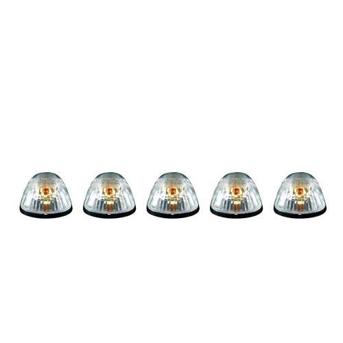 Lighting - Cab Roof Lights - Recon Truck Accessories - 264141CL | (5-Piece Set) Clear Cab Roof Light Lens with Amber 194 Bulbs