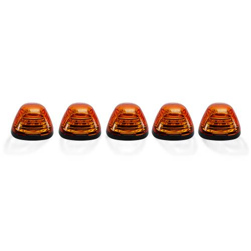 Lighting - Cab Roof Lights - Recon Truck Accessories - 264143AM | (5-Piece Set) Amber Lens with Amber LED's – Complete Kit With Wiring & Hardware