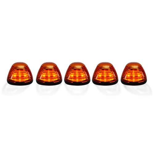 Lighting - Cab Roof Lights - Recon Truck Accessories - 264143AMHP | (5-Piece Set) Amber Cab Roof Light Lens with Amber High-Power OLED Bar-Style LED's – Complete Kit With Wiring & Hardware