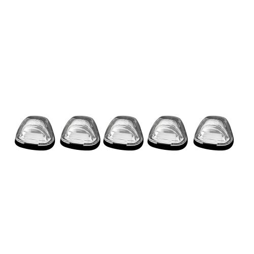 Lighting - Cab Roof Lights - Recon Truck Accessories - 264143CLHP | (5-Piece Set) Clear Cab Roof Light Lens with Amber High-Power OLED Bar-Style LED's – Complete Kit With Wiring & Hardware