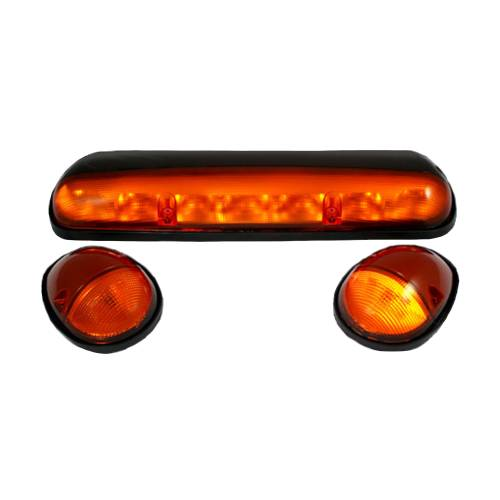 Lighting - Cab Roof Lights - Recon Truck Accessories - 264155AM | (3-Piece Set) Amber Cab Roof Light Lens with Amber LED's