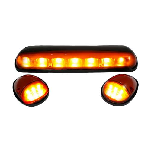 Recon Truck Accessories - 264155AM | (3-Piece Set) Amber Cab Roof Light Lens with Amber LED's - Image 2