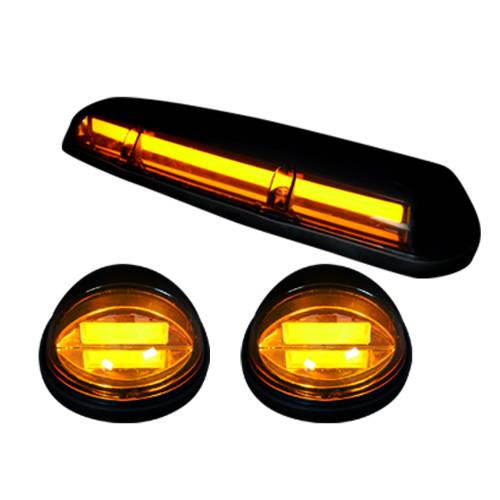 Lighting - Cab Roof Lights - Recon Truck Accessories - 264155AMHP | (3-Piece Set) Amber Cab Roof Light Lens with Amber High-Power OLED Bar-Style LED's