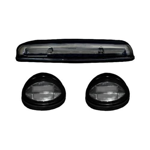 Lighting - Cab Roof Lights - Recon Truck Accessories - 264155BKHP | (3-Piece Set) Smoked Cab Roof Light Lens with Amber High-Power OLED Bar-Style LED's