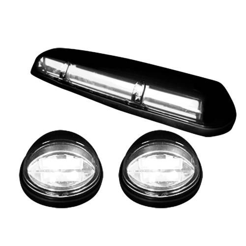 Lighting - Cab Roof Lights - Recon Truck Accessories - 264155WHBKHP | (3-Piece Set) Smoked Cab Roof Light Lens with White High-Power OLED Bar-Style LED's