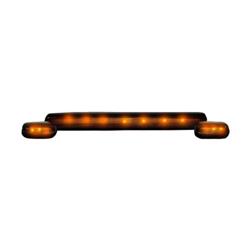Lighting - Cab Roof Lights - Recon Truck Accessories - 264156BK | (3-Piece Set) Smoked Cab Roof Light Lens with Amber LED's