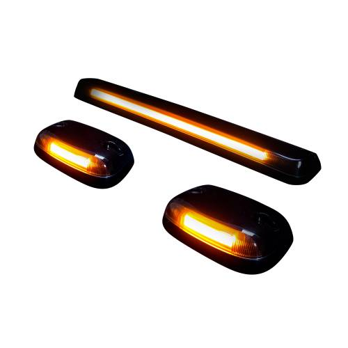 Lighting - Cab Roof Lights - Recon Truck Accessories - 264156BKHP | (3-Piece Set) Smoked Cab Roof Light Lens with Amber High-Power OLED Bar-Style LED's