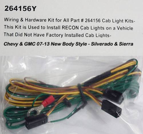 Lighting - Cab Roof Lights - Recon Truck Accessories - 264156Y | Wiring & Hardware Kit for All Part #264156 Cab Light Kits