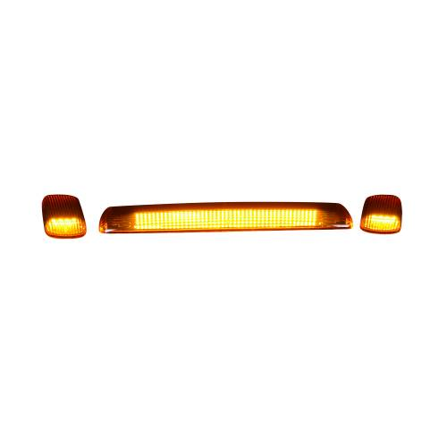 Lighting - Cab Roof Lights - Recon Truck Accessories - 264157AM | (3-Piece Set) Amber Cab Roof Light Lens with Amber LED's
