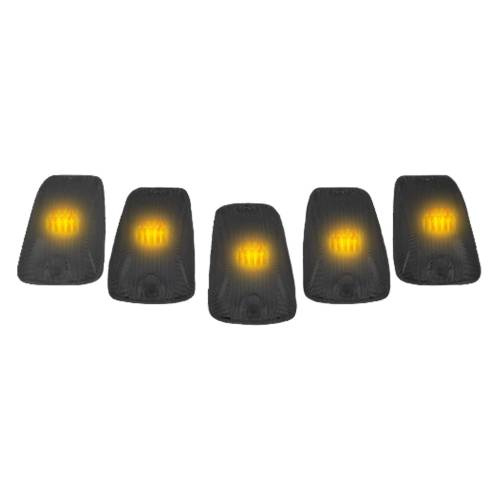Recon Truck Accessories - 264159BK | (5-Piece Set) Smoked Cab Roof Light Lenses Only & Amber 194 LED Bulbs - Image 2