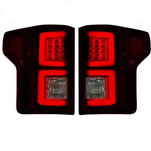 Recon Truck Accessories - 264268RBK | (Replaces OEM Halogen Style Tail Lights) LED TAIL LIGHTS – Dark Red Smoked Lens