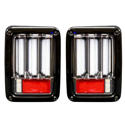 Lighting - LED Tail Lights - Recon Truck Accessories - 264234LEDCL | Scanning OLED Bar-Style LED Taillights – Clear Lens