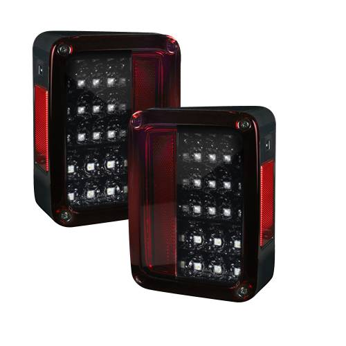 Lighting - LED Tail Lights - Recon Truck Accessories - 264234LEDRBK   Scanning OLED Bar-Style LED Taillights – Red Smoked Lens
