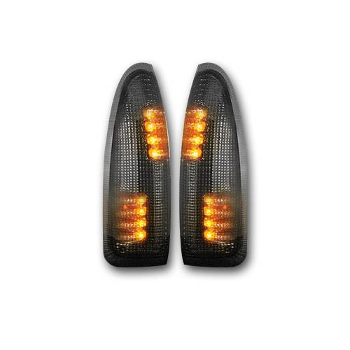 Recon Truck Accessories - 264120BK | Side Mirror Lenses (2-Piece Set) w/ AMBER LED Running Lights & Turn Signals – Smoked Lens - Image 2