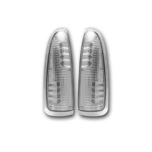 Lighting - Mirror & Marker Lights - Recon Truck Accessories - 264120CL | Side Mirror Lenses (2-Piece Set) w/ AMBER LED Running Lights & Turn Signals – Clear Lens