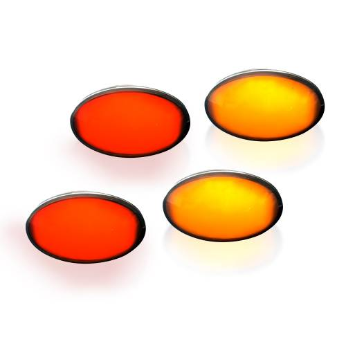 Recon Truck Accessories - 264132BK | Dually Fender Lenses (4-Piece Set) w/ 2 Red LED Lights & 2 Amber LED Lights – Smoked Lens