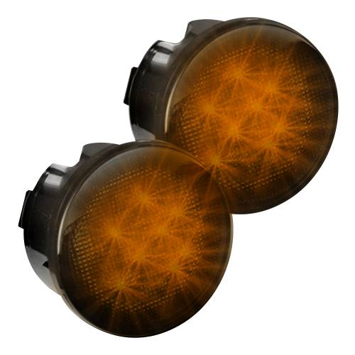 Lighting - Mirror & Marker Lights - Recon Truck Accessories - 264134BK | Round Front Turn Signal Lenses with Amber LED's Located Under Front Headlights – Smoked Lens