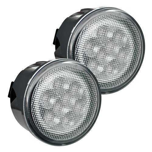 Lighting - Mirror & Marker Lights - Recon Truck Accessories - 264134WHCL | Round Front Turn Signal Lenses with White LED's Located Under Front Headlights – Clear Lens