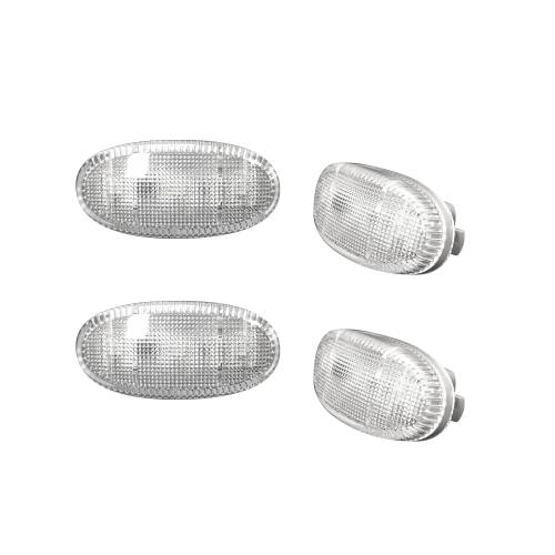 Lighting - Mirror & Marker Lights - Recon Truck Accessories - 264136CL | Dually Fender Lenses (4-Piece Set) w/ 2 Red LED Lights & 2 Amber LED Lights – Clear Lens